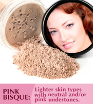Pink Bisque: Lighter skin types with neutral and/or pink undertones. This shade can double as a concealer and works well on all skin tones.
